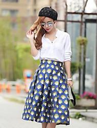 Mujer Tiro Medio Midi Faldas,Columpio Estampado