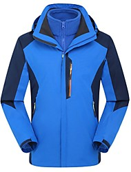 Men Outdoor Sports Winter Coat Soft Shell Fleece Jacket Hiking Cimbing Ski Clothing Jackets Waterproof Jacket (1PCS Soft Jacket & 1PCS Fleece Jacket)