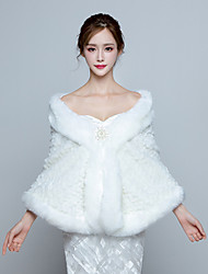 Women's Elegant Bridal Wrap Capelets Faux Fur Wedding / Party/Evening Charming Winter Solid Thick White