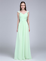 2017 Lanting Bride® Floor-length Chiffon Bridesmaid Dress - V-neck withButtons
