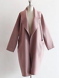 Feminino Casaco Informal / Casual Fofo Inverno,Sólido Rosa Pêlo de Cordeiro Colarinho de Camisa-Manga Longa Média