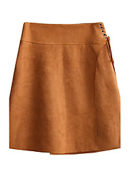 Women's Lace up Mid Rise Knee-length Skirts,Simple Street chic A Line Solid