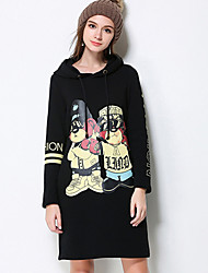 Mujer Recto Vestido Casual/Diario / Tallas Grandes Simple,Estampado Animal Con Capucha Sobre la rodilla Manga Larga NegroAlgodón /