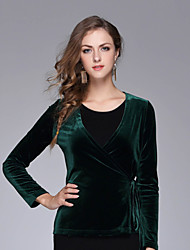 NEDO Women's Casual/Daily Simple Fall / Winter T-shirtSolid V Neck Long Sleeve Black / Green Silk / Polyester