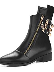 Черный Темно-коричневый-Для женщин-Для праздника Повседневный-Дерматин-На низком каблукеБотинки