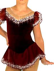 Robe de Patinage Femme Manches courtes Patinage Robes Haute élasticité Robe de patinage artistique Respirable / Confortable Dentelle