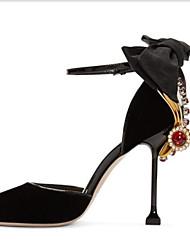 Feminino-Saltos-D'Orsay Light Up Shoes-Salto Agulha-Preto Rosa-Seda-Escritório & Trabalho Social Festas & Noite