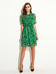 Women's Casual/Daily Street chic Chiffon Dress,Print V Neck Knee-length Short Sleeve Red / Green Polyester Summer