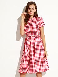 Women's Simple A Line Dress,Plaid Round Neck Midi Short Sleeve Red / Black Linen Spring
