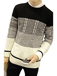 Men's Casual/Daily Formal Work Vintage Cute Street chic Regular Pullover,Solid Striped Color Block White Black Round Neck Long Sleeve