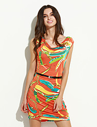 Women's Club Bodycon Dress,Print V Neck Mini Sleeveless Blue / Green / Orange Silk / Cotton Summer