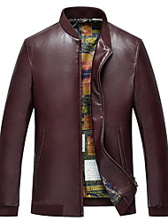 Men's Casual/Daily Simple Leather Jackets,Solid Stand Long Sleeve Winter Blue / Black / Brown PU Thick