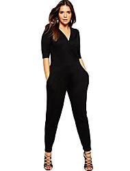 Women's Plus Size Wrap V Neck Jumpsuit
