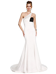 Mermaid / Trumpet One Shoulder Sweep / Brush Train Satin Prom Formal Evening Dress with Side Draping by TS Couture®