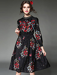 AOFULI Fashion Women Dress Bead Print Ethnic Vintage Europe Elegant Elastic Waist Long Sleeve Black Dress