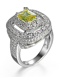 Ring AAA Cubic Zirconia Zircon Cubic Zirconia Alloy Yellow Jewelry Wedding Daily 1pc