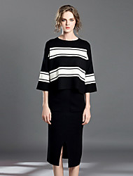 INPLUS LADY Women's Casual/Daily Simple Fall T-shirt Skirt SuitsStriped Round Neck Long Sleeve Black Wool / Cotton