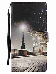 For  Xperia XA Ultra X Performance Z5 Case Cover City Scenery Painted Lanyard PU Phone Case