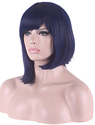 Bob Short Side Bang Synthetic Wigs for Women Dark Blue Heat Resistant Cheap Cosplay Wig Hair