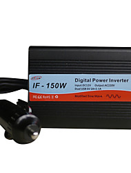 OEM Factory IF-150W Input DC12V Output AC220V Dual USB 5V 1A+2.1A Digital Power Inverter HPIF-150W Input DC12V Output AC220V Dual USB 5V