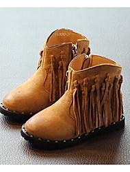Girl's Boots Winter Comfort Leather Casual Flat Heel Tassel Black / Coffee Walking