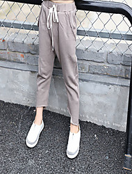 Unisex Casual/Daily Solid Pants-Cotton Fall