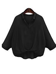 Feminino Camisa Casual Simples Primavera / Outono,Sólido Branco / Preto / Laranja Poliéster Colarinho de Camisa Manga Longa Fina