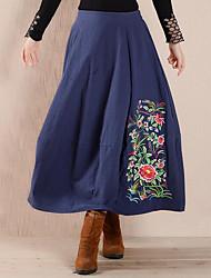 Damen Röcke,Schaukel einfarbig Bestickt,Lässig/Alltäglich Chinoiserie Mittlere Hüfthöhe Midi Kordelzug Leinen Micro-elastisch Sommer