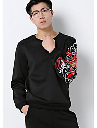 Men's Casual/Daily / Sports Sweatshirt,Print Jacquard Round Neck Micro-elastic Cotton Long Sleeve Winter