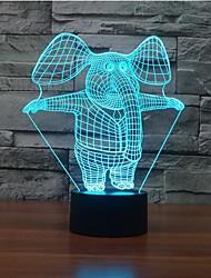 elefante toque escurecimento 3D conduziu a luz da noite 7colorful decoração atmosfera lâmpada de luz de Natal iluminação novidade