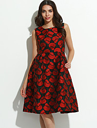 Women's Going out Vintage / Sophisticated A Line Dress,Jacquard Round Neck Knee-length Sleeveless Red Polyester Summer / Fall High Rise