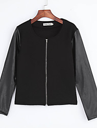 Women's Patchwork White / Black Jackets , Casual / Work Round Neck Long Sleeve