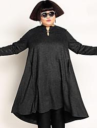 Mujer Corte Ancho Vestido Casual/Diario Simple,Un Color Escote Redondo Midi Manga Larga Gris Lana / Poliéster Otoño / Invierno Tiro Medio