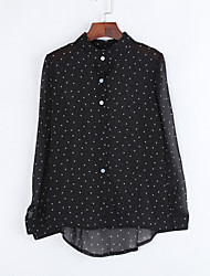 Women's Polka Dot Black Tanks,Shirt Collar Long Sleeve