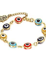 Femme Bracelets de rive Acier inoxydable Plaqué or Mode Forme de Cercle Main de Fatma Arc-en-ciel Bijoux 1pc