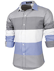 Men's Casual/Daily Work Simple Shirt,Striped Color Block Shirt Collar Long Sleeve Cotton