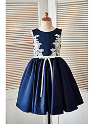 A-line Knee-length Flower Girl Dress - Satin Scoop with Appliques Buttons Sash / Ribbon