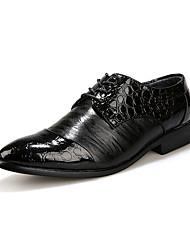 Herren-Loafers & Slip-Ons-Lässig-Leder-Flacher Absatz-Komfort-Schwarz