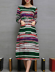 Women's Casual/Daily Vintage Loose DressStriped Round Neck Midi Long Sleeve Green / Yellow Linen All Seasons