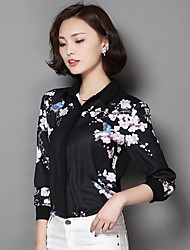 Women's Going out Simple Shirt,Print Stand ¾ Sleeve Black Polyester