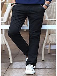 Masculino Delgado Chinos Calças-Cor Única Casual Simples Cintura Média Zíper Algodão Micro-Elástico Todas as Estações