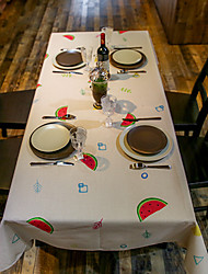 Patterned Table Cloth  Linen Material Table Decoration 1pc/set Colorful Watermelon Feature 3 Size