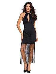 Women's Cut Out/Tassel/Backless High Halterneck Fringe Hem Maxi Dress