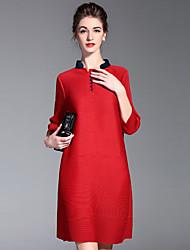Feminino Bainha Vestido, Casual Simples Sólido Colarinho Chinês Acima do Joelho Manga ¾ Vermelho Preto Cinza Poliéster OutonoCintura