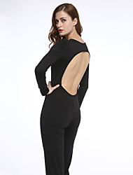 Women's Solid Backless Slim Jumpsuits,Sexy / Simple Round Neck Long Sleeve