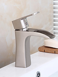 Nickel Brushed Bathroom Sink Faucet Contemporary Design Waterfall