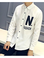 Men's Casual/Daily Simple Shirt,Solid Classic Collar Long Sleeve Blue / White Cotton