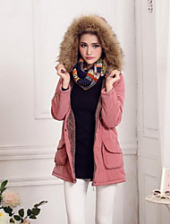 Women's Fur Collar Hooded Fleece Lined Parka