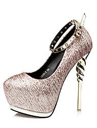 Damen-High Heels-Kleid-Kunstleder-Stöckelabsatz-Komfort-Schwarz / Silber / Gold