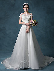 Trumpet / Mermaid Wedding Dress Vintage Inspired Court Train Bateau Organza Satin Tulle with Embroidered Lace